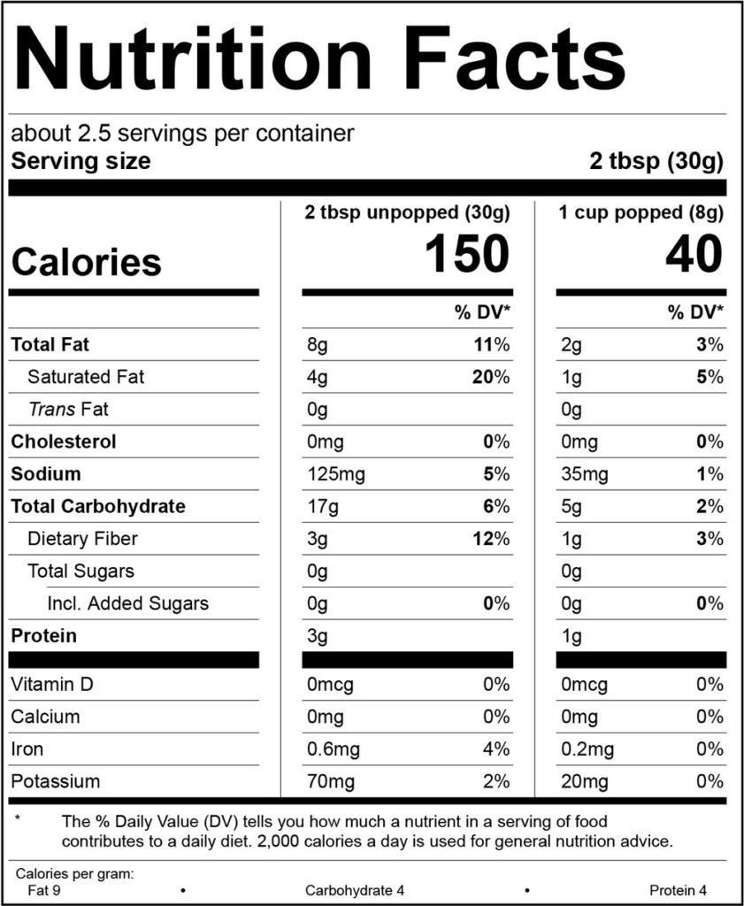 Kettle Corn Nutrition Facts