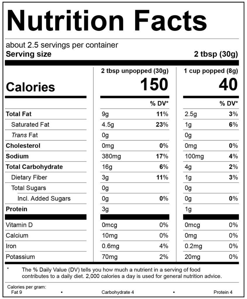 Sea Salt & Black Pepper Nutrition Facts