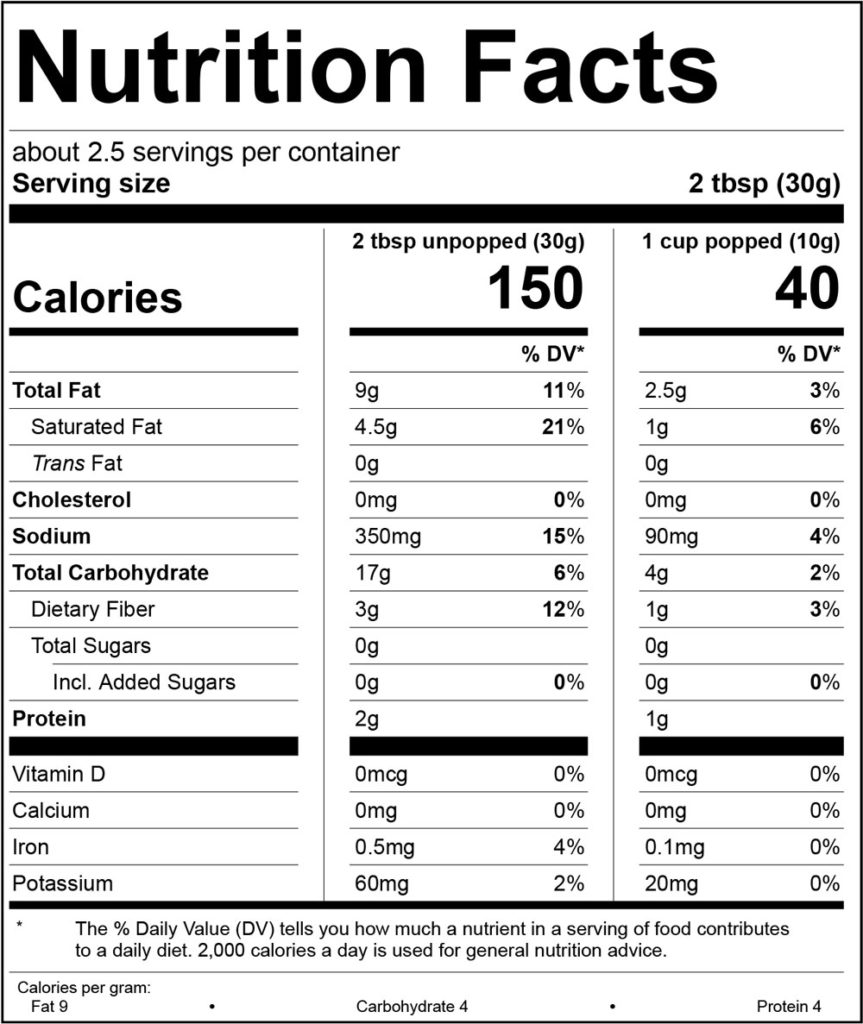 White Cheddar Nutrition Facts