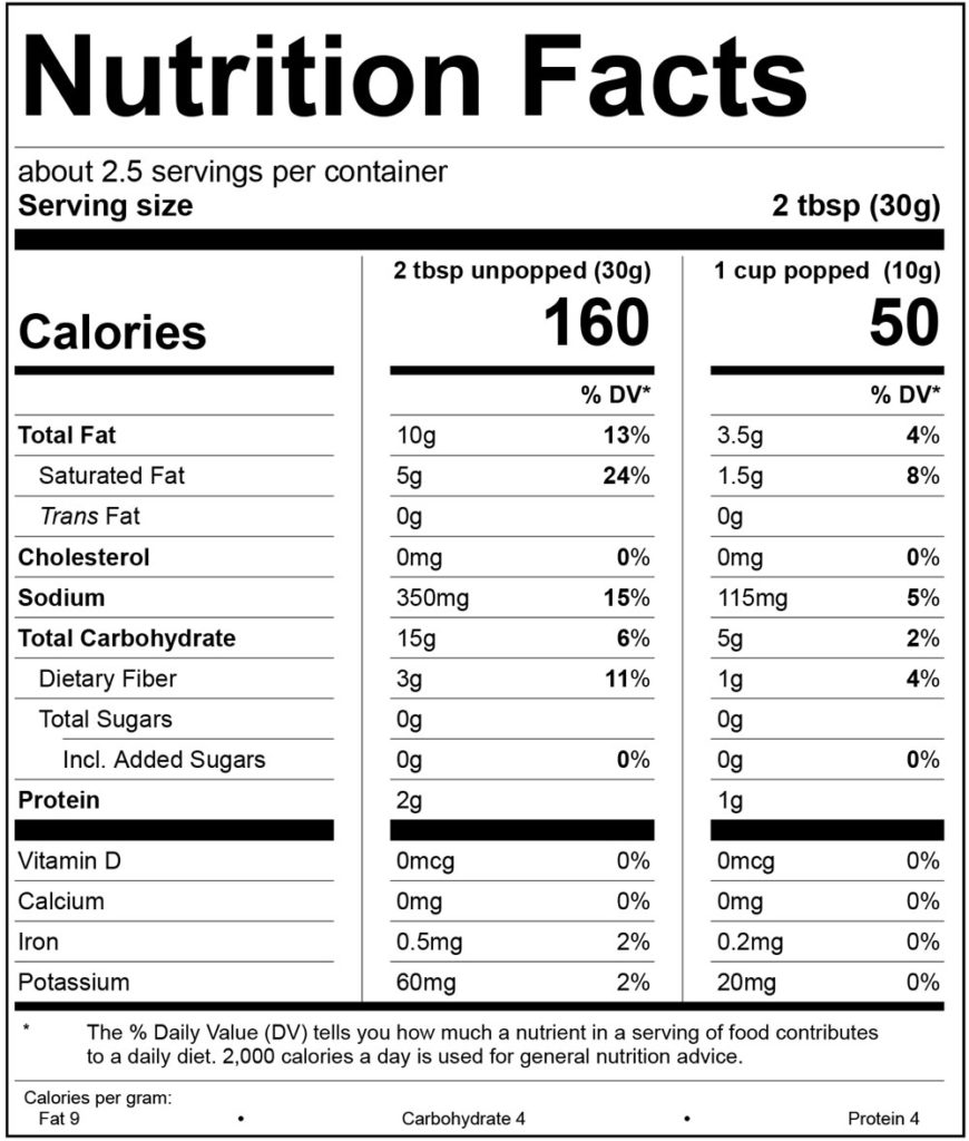 MagicTime Microwave Popcorn Flaming Hot Cheddar Nutrition Facts