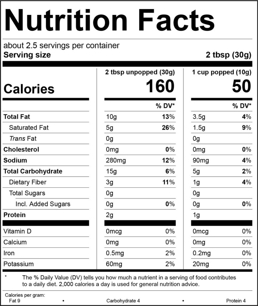 Movie Theater Butter Nutrition Facts